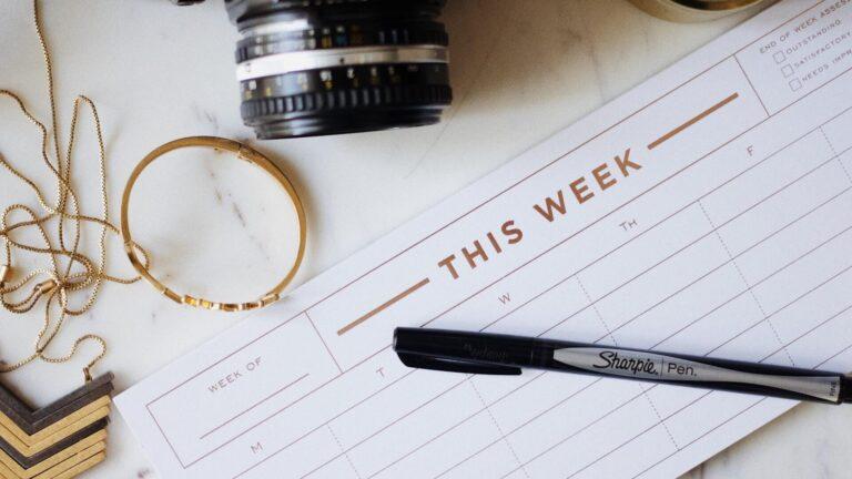 haftalık verimlilik takvimi